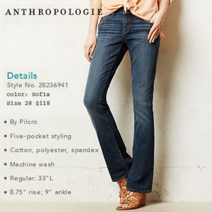 Pilcro Anthropologie Stet slim boot cut jeans